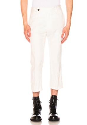 Ann Demeulemeester Flat Front Trousers in White