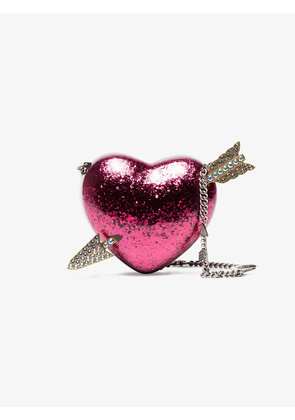 Gucci Pink Heart Crystal Embellished Clutch