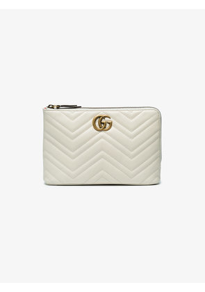 Gucci White GG marmont 2.0 Leather Pouch