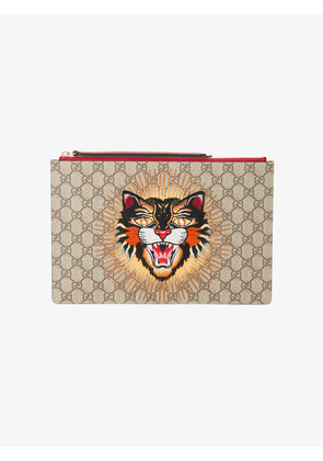Gucci angry cat GG supreme pouch