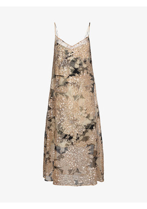 Dries Van Noten Strappy floral sequinned dress