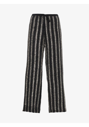 Dries Van Noten Silk Puvis Sequin Stripe Trousers
