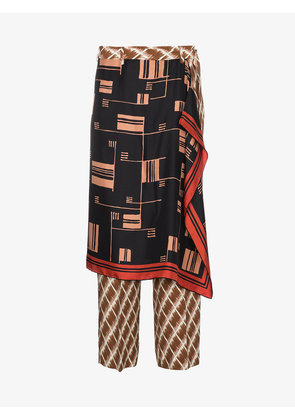 Dries Van Noten Panax Skirt Overlay Silk Trousers