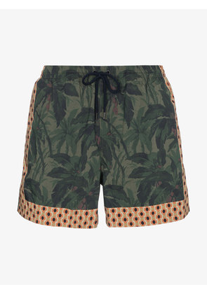 Dries Van Noten Green swim shorts with plant print