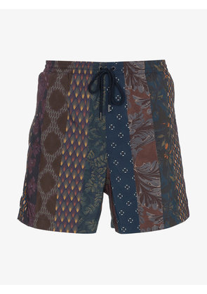 Dries Van Noten Contrasting pattern swim shorts