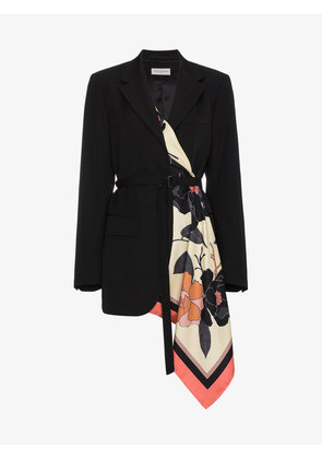Dries Van Noten Wool belted jacket with scarf insert