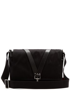 Leather-trimmed canvas cross-body bag