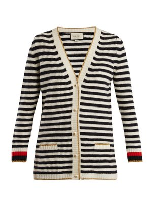Striped wool and cashmere-blend knit cardigan