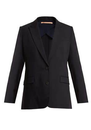Single-breasted wool-blend jacket