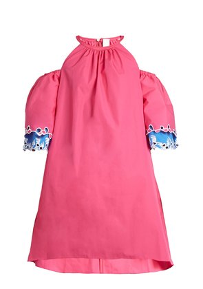 Embroidered cut-out shoulder cotton dress
