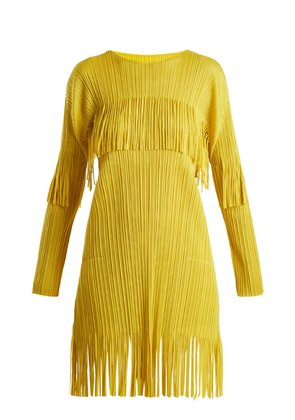 Earthen fringe pleated day dress