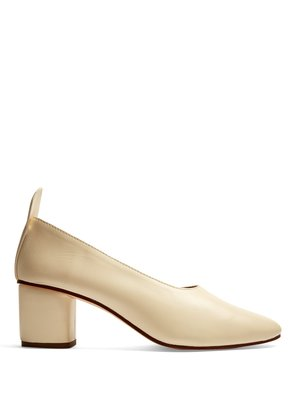 Block-heel leather pumps