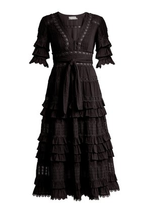 Corsair deep V-neck ruffled cotton dress