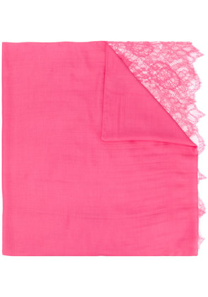 Valentino lace trim textured scarf - Pink