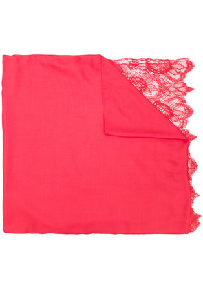 Valentino lace trim scarf - Red