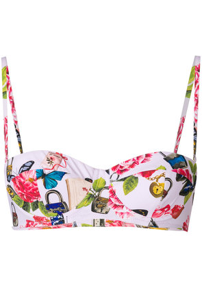 Dolce & Gabbana Secret print balcony bikini top - Pink & Purple