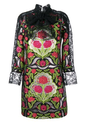 Gucci Floral Brocade and Lace Dress - Black