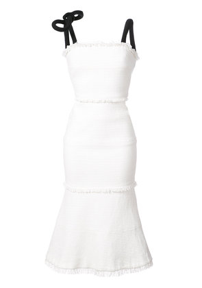 Oscar de la Renta tie strap flared dress - White