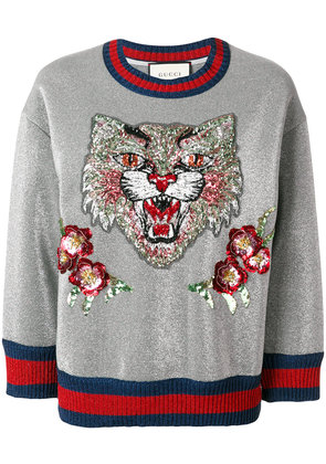 Gucci Angry Cat embroidered sweatshirt - Grey