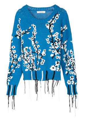 Cédric Charlier frayed edges knit pullover - Blue