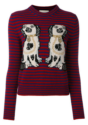 Gucci dog patch stripe top - Red