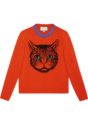 Gucci Mystic cat wool knit sweater - Yellow & Orange