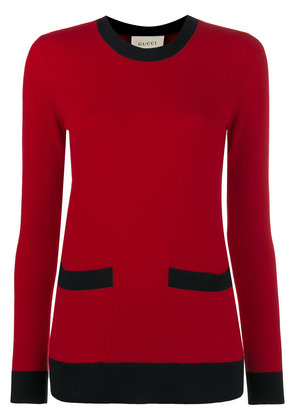 Gucci Crew Neck Cashmere Jumper with Front Pockets - Red