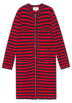 Gucci Striped cotton wool cardigan - Red