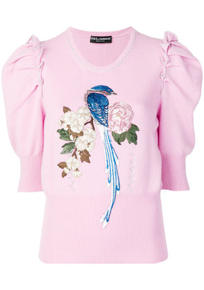 Dolce & Gabbana bird and floral embroidered wide sleeves sweater -