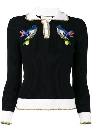 Gucci bird embroidered jumper - Blue