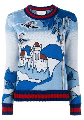 Gucci castle knit jumper - Blue