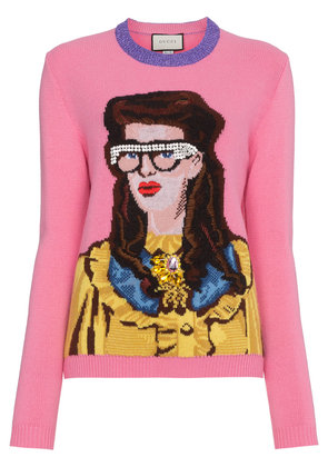 Gucci Crystal Embellished Woman Intarsia Wool Sweater - Pink & Purple