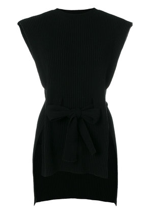 Cashmere In Love ribbed belted sleeveless top - Black