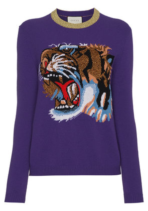 Gucci Wool jumper with knitted tiger motif - Pink & Purple