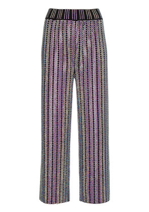 Gucci Crystal Embroidered Ribbed Knit pants - Metallic