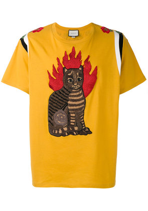 Gucci flame tabby cat motif t-shirt - Yellow & Orange