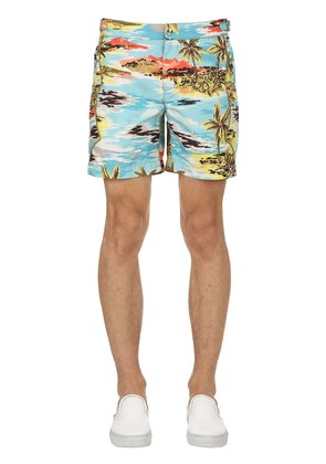 HAWAIIAN PRINT WESTERN SWIM SHORTS