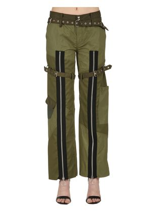 PATCHWORK DRILL PANTS WITH ZIPS