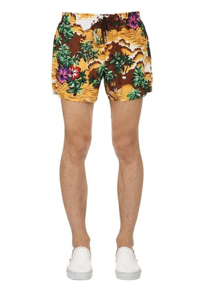 32CM HAWAIIAN PRINTED NYLON SWIM SHORTS
