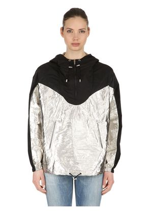 COLOR BLOCK METALLIC NYLON ANORAK