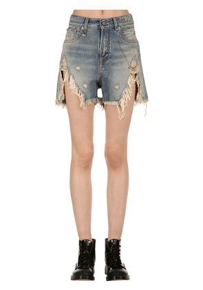 HIGH WAIST DESTROYED DENIM SHORTS