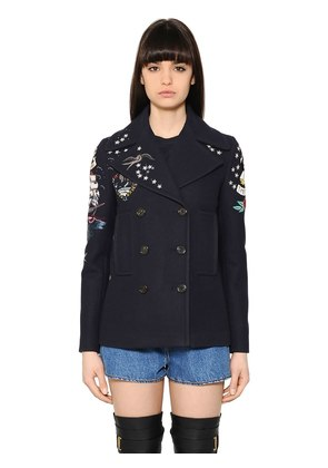 EMBELLISHED WOOL CLOTH PEACOAT