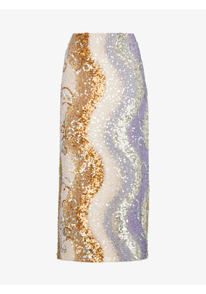 Dries Van Noten Shine sequin embellished silk midi skirt