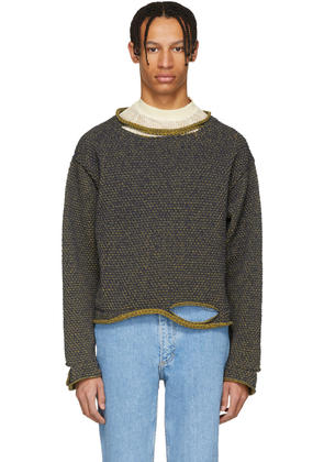 Eckhaus Latta Navy and Yellow Wiggly Road Sweater