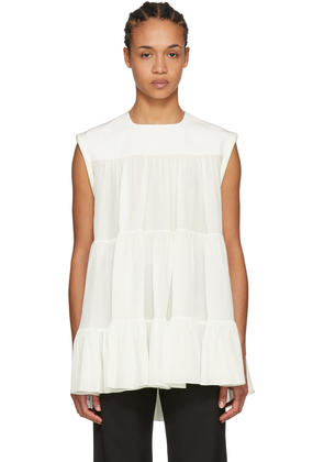 Chloé White Tiered Ruffled Blouse
