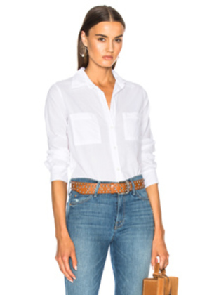 Enza Costa Split Back Shirt in White