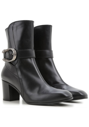 Gucci Boots for Women, Booties On Sale in Outlet, Black, Leather, 2017, 2.5 6