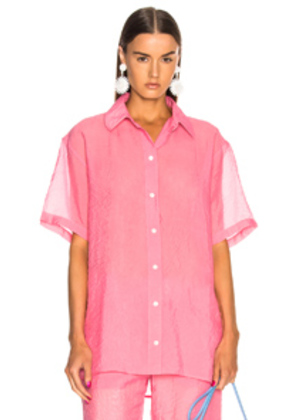 Victoria Beckham Short Sleeve Shirt in Pink