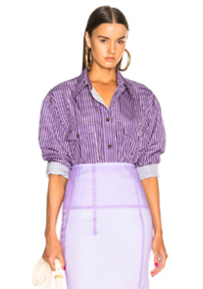Victoria Beckham Patch Pocket Shirt in Checkered & Plaid,Purple