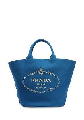 LOGO PRINTED COTTON CANVAS TOTE BAG